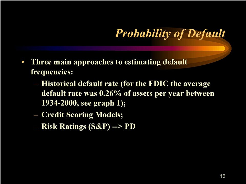 average default rate was 0.