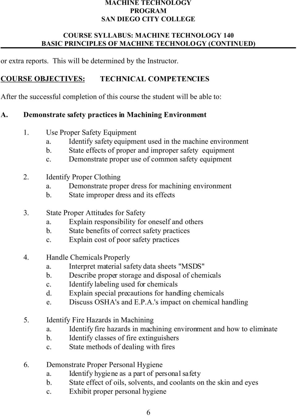 State effects of proper and improper safety equipment c. Demonstrate proper use of common safety equipment 2. Identify Proper Clothing a. Demonstrate proper dress for machining environment b.