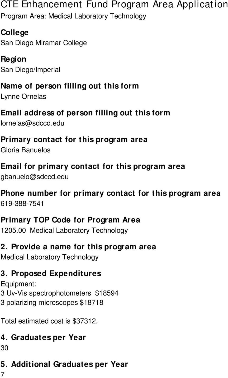 edu Phone number for primary contact for this program area 619-388-7541 Primary TOP Code for Program Area 1205.00 Medical Laboratory Technology 2.