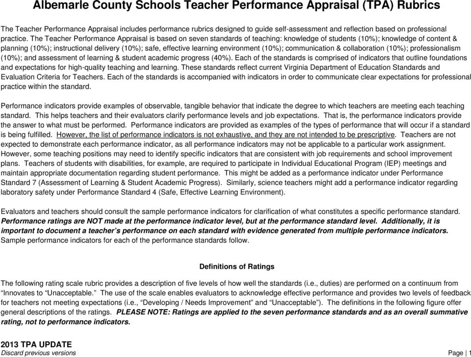 The Teacher Performance Appraisal is based on seven standards of teaching: knowledge of students (10%); knowledge of content & planning (10%); instructional delivery (10%); safe, effective learning