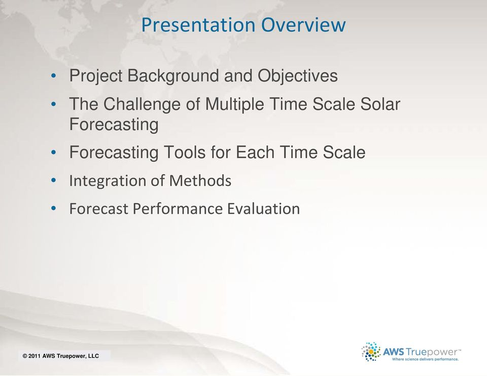 Solar Forecasting Forecasting Tools for Each Time