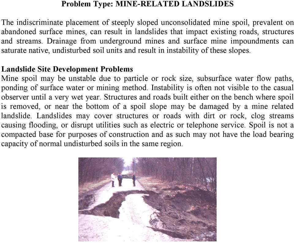 Landslide Site Development Problems Mine spoil may be unstable due to particle or rock size, subsurface water flow paths, ponding of surface water or mining method.