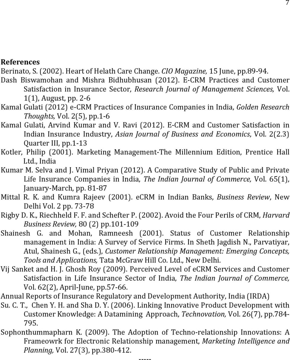 2-6 Kamal Gulati (2012) e-crm Practices of Insurance Companies in India, Golden Research Thoughts, Vol. 2(5), pp.1-6 Kamal Gulati, Arvind Kumar and V. Ravi (2012).