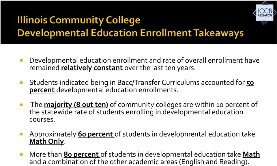 The majority (8 out ten) of community colleges are within 10 percent of the statewide rate of students enrolling in developmental education courses.