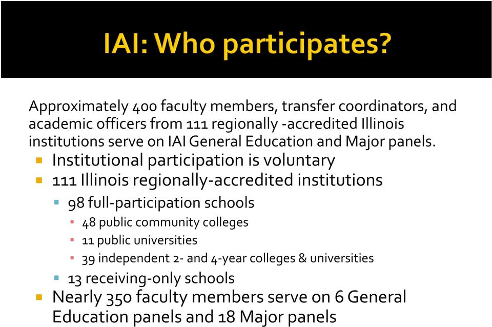 Institutional participation is voluntary 111 Illinois regionally accredited institutions 98 full participation schools 48 public