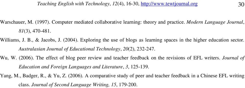 Australasian Journal of Educational Technology, 20(2), 232-247. Wu, W. (2006). The effect of blog peer review and teacher feedback on the revisions of EFL writers.