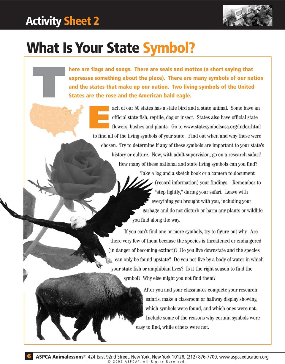 Each of our 50 states has a state bird and a state animal. Some have an official state fish, reptile, dog or insect. States also have official state flowers, bushes and plants. Go to www.