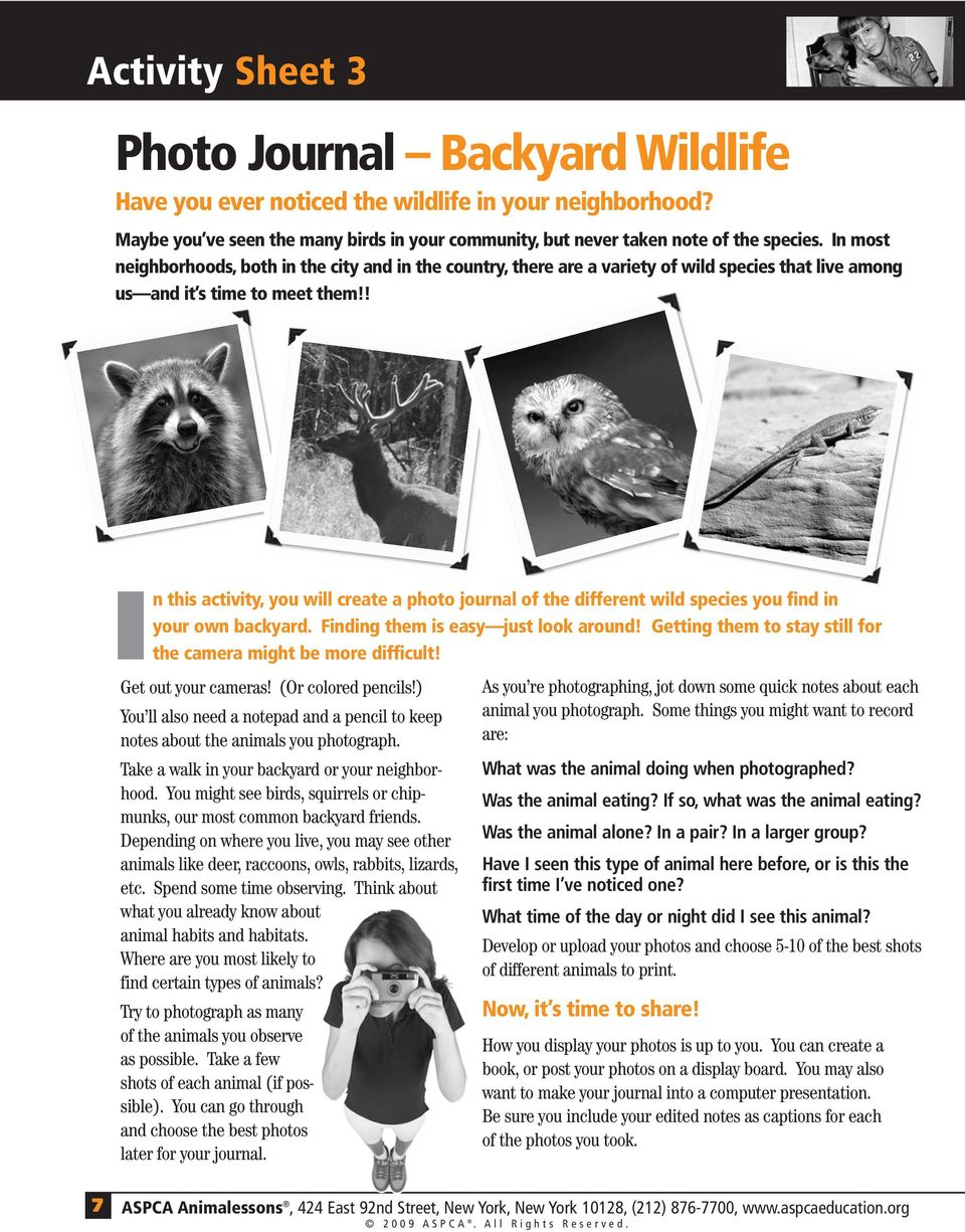 ! In this activity, you will create a photo journal of the different wild species you find in your own backyard. Finding them is easy just look around!