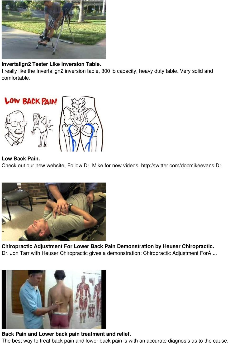 Chiropractic Adjustment For Lower Back Pain Demonstration by Heuser Chiropractic. Dr.