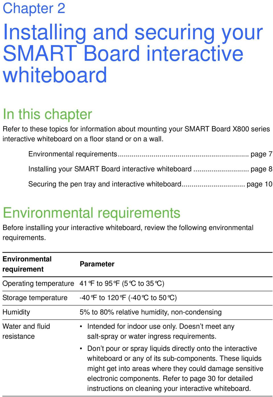 .. page 10 Environmental requirements Before installing your interactive whiteboard, review the following environmental requirements.
