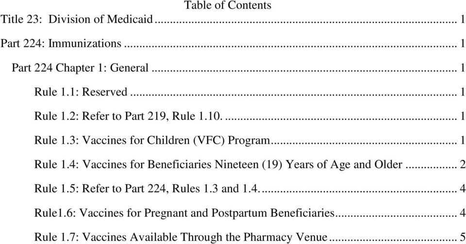 .. 2 Rule 1.5: Refer to Part 224, Rules 1.3 and 1.4.... 4 Rule1.6: Vaccines for Pregnant and Postpartum Beneficiaries.