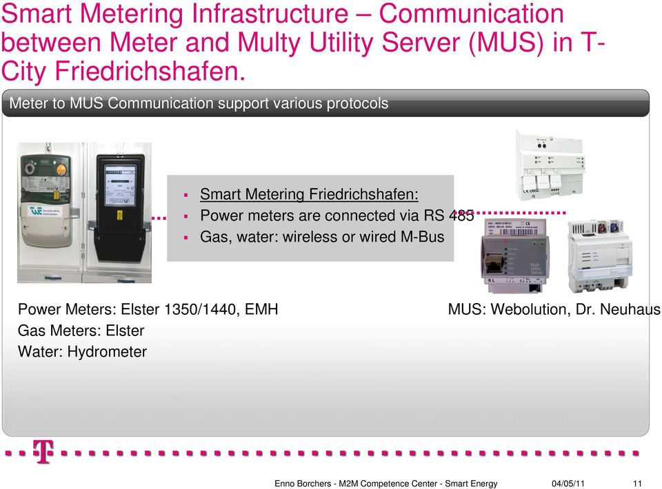 Meter to MUS Communication support various protocols Smart Metering Friedrichshafen: Power
