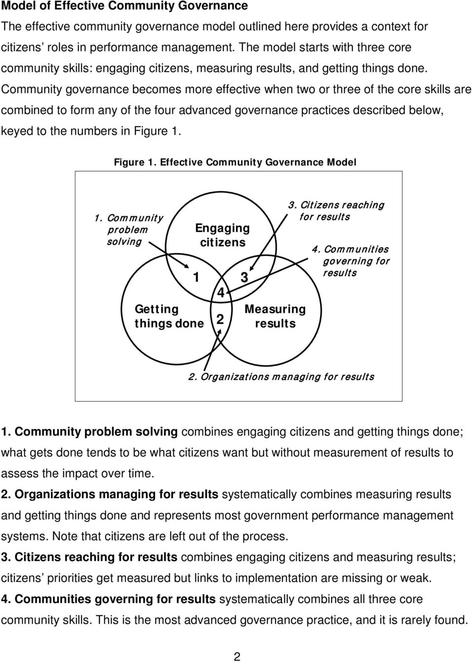 Community governance becomes more effective when two or three of the core skills are combined to form any of the four advanced governance practices described below, keyed to the numbers in Figure 1.
