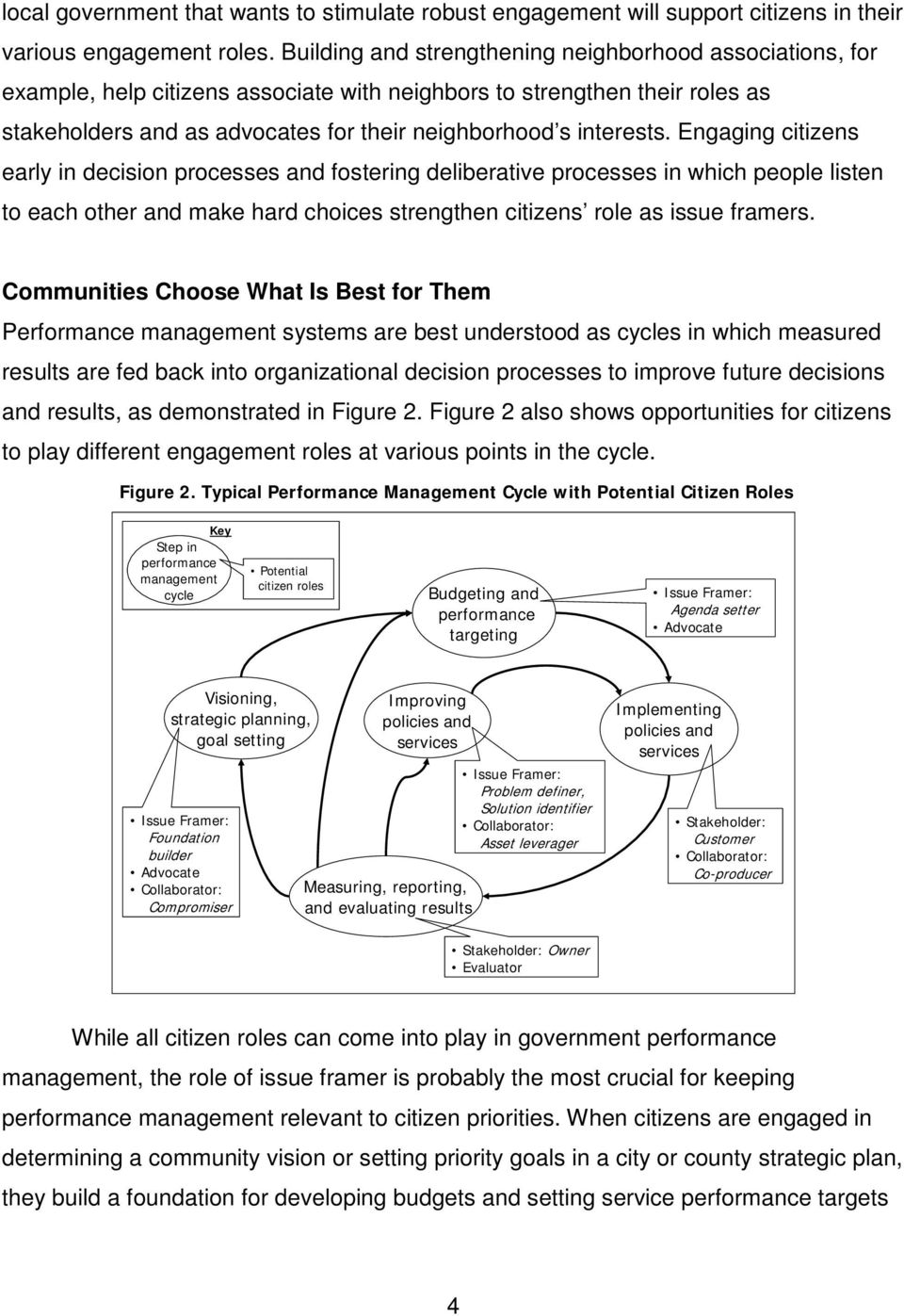 Engaging citizens early in decision processes and fostering deliberative processes in which people listen to each other and make hard choices strengthen citizens role as issue framers.