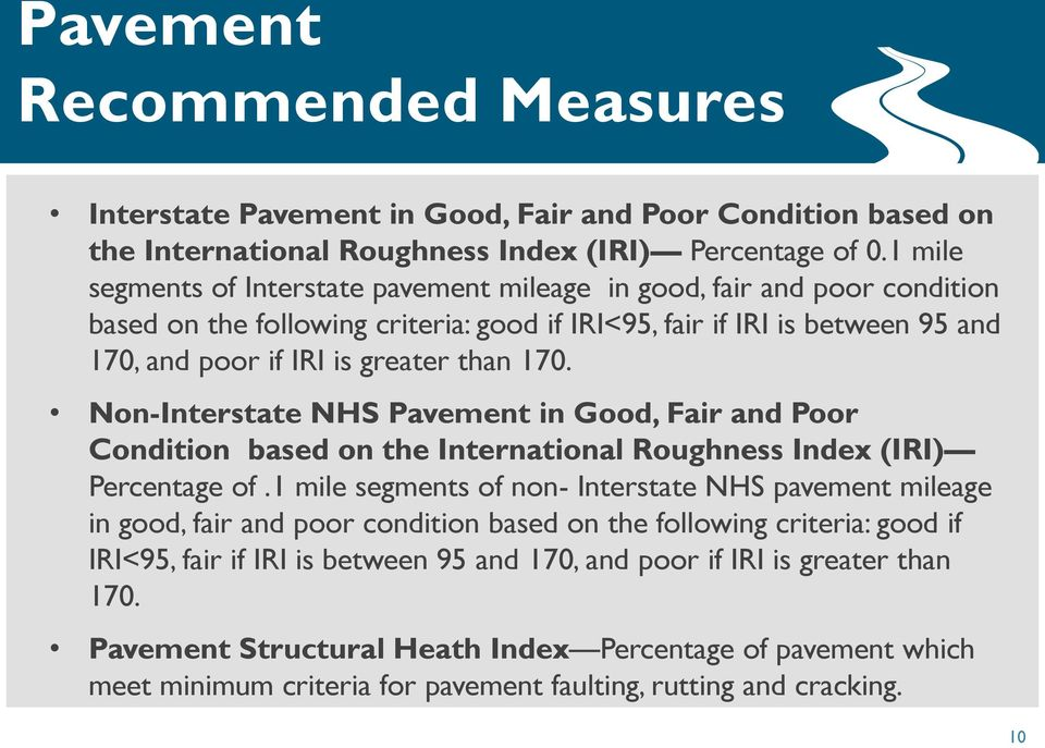 Non-Interstate NHS Pavement in Good, Fair and Poor Condition based on the International Roughness Index (IRI) Percentage of.