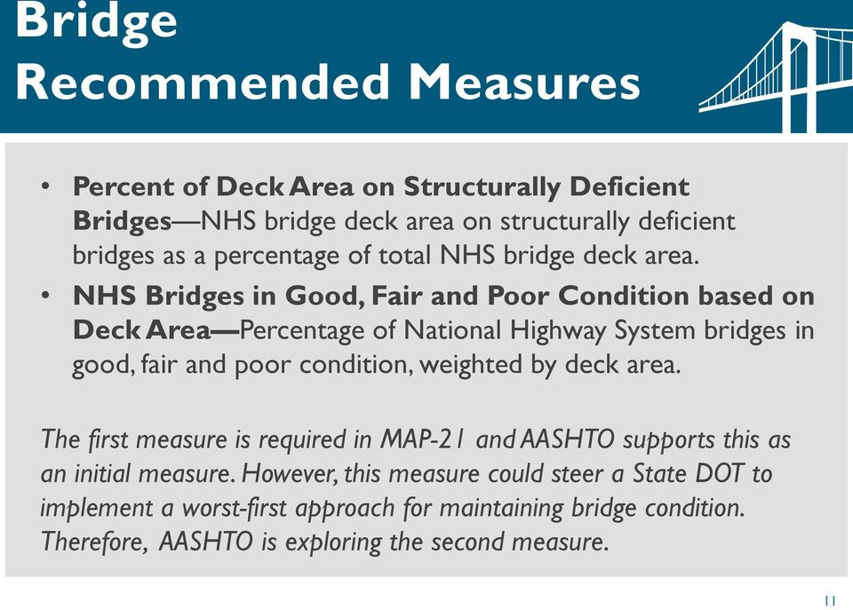 NHS Bridges in Good, Fair and Poor Condition based on Deck Area Percentage of National Highway System bridges in good, fair and poor condition, weighted