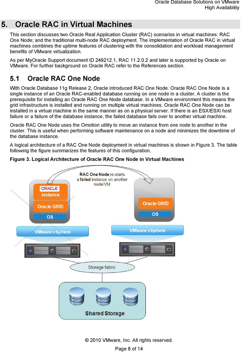 As per MyOracle Support document ID 249212.1, RAC 11.2.0.2 and later is supported by Oracle on VMware. For further background on Oracle RAC refer to the References section. 5.