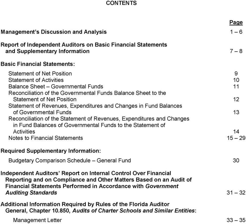 Expenditures and Changes in Fund Balances of Governmental Funds 13 Reconciliation of the Statement of Revenues, Expenditures and Changes in Fund Balances of Governmental Funds to the Statement of
