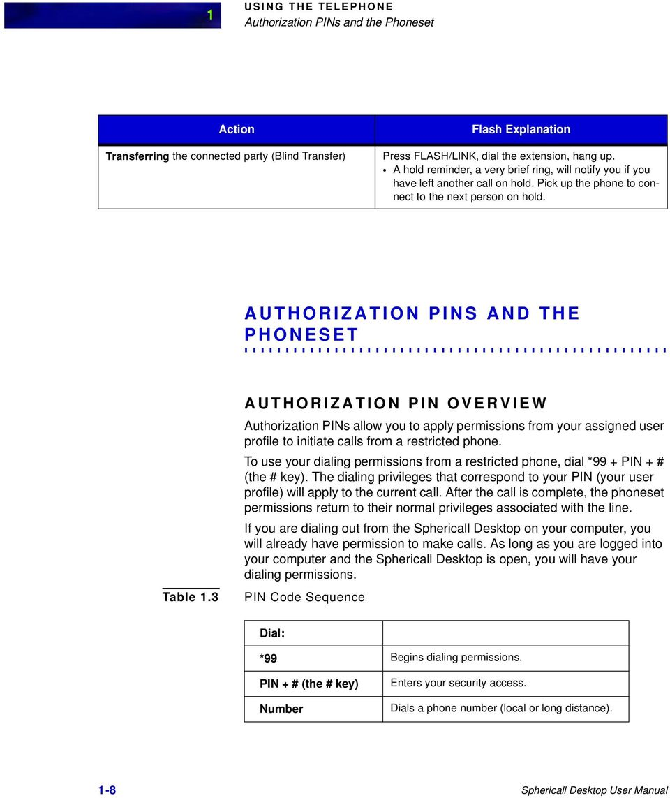 3 AUTHORIZATION PIN OVERVIEW Authorization PINs allow you to apply permissions from your assigned user profile to initiate calls from a restricted phone.