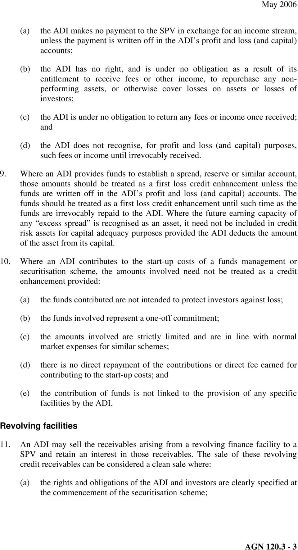 obligation to return any fees or income once received; and the ADI does not recognise, for profit and loss (and capital) purposes, such fees or income until irrevocably received. 9.
