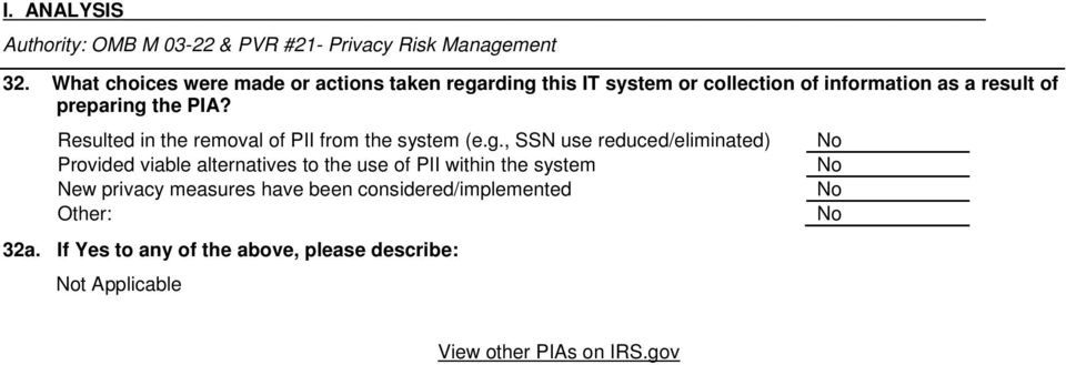 PIA? Resulted in the removal of PII from the system (e.g.