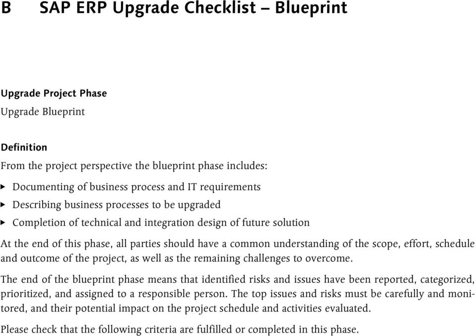 Sap erp upgrade checklist project preparation pdf effort schedule and outcome of the project as well as the remaining challenges to malvernweather Image collections