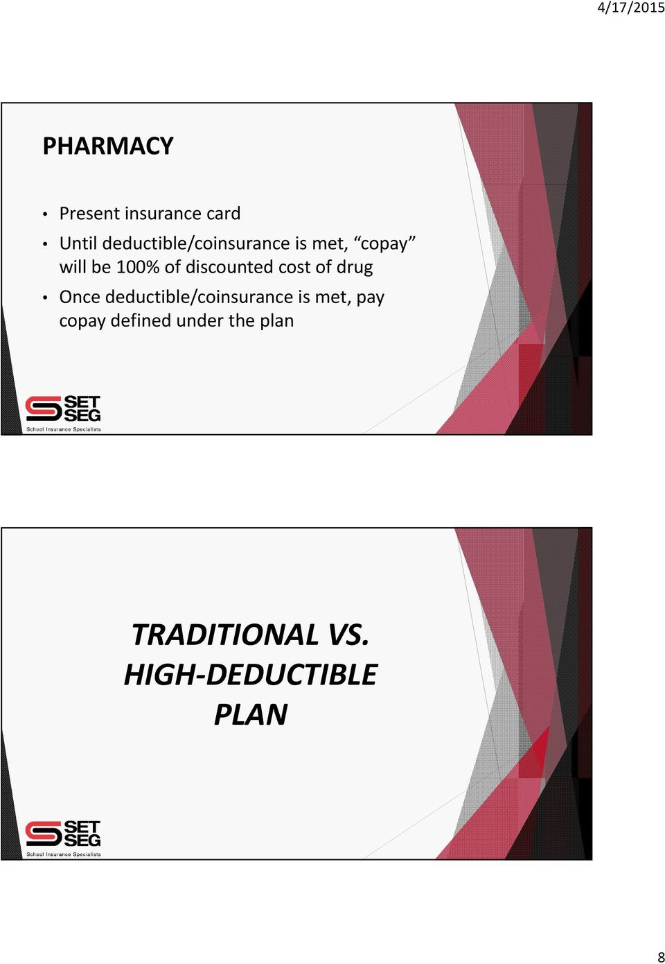 discounted cost of drug Once deductible/coinsurance is