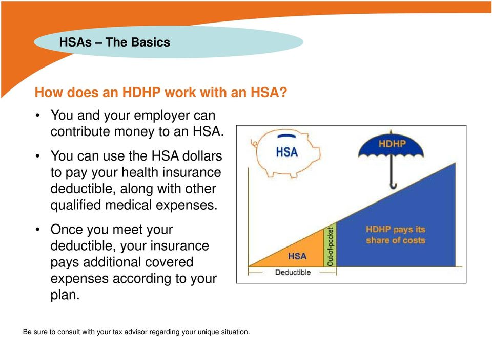 You can use the HSA dollars to pay your health insurance deductible, along with other qualified