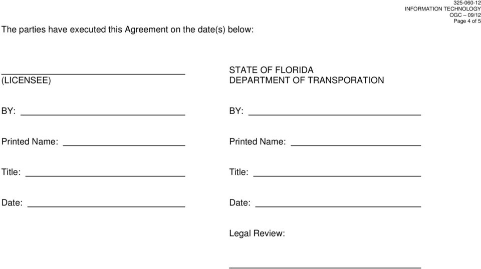 FLORIDA DEPARTMENT OF TRANSPORATION BY: BY: Printed