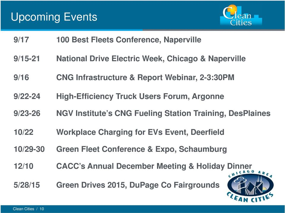 Fueling Station Training, DesPlaines 10/22 Workplace Charging for EVs Event, Deerfield 10/29-30 Green Fleet Conference & Expo,