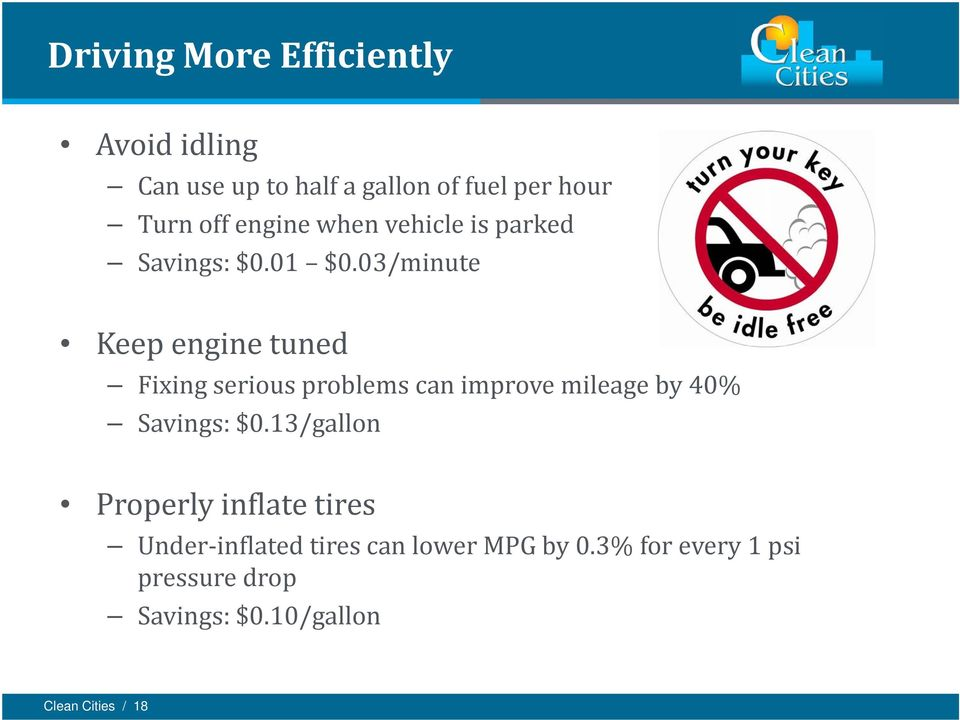 03/minute Keep engine tuned Fixing serious problems can improve mileage by 40% Savings: $0.
