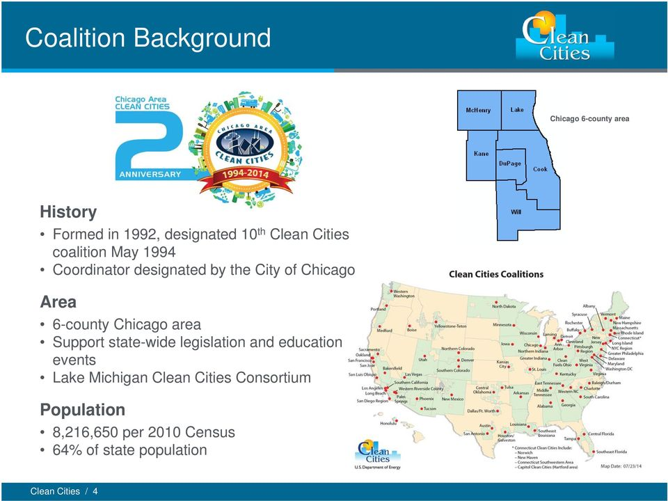 6-county Chicago area Support state-wide legislation and education events Lake Michigan