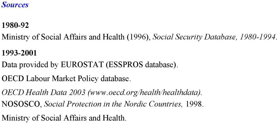 OECD Labour Market Policy database. OECD Health Data 2003 (www.oecd.