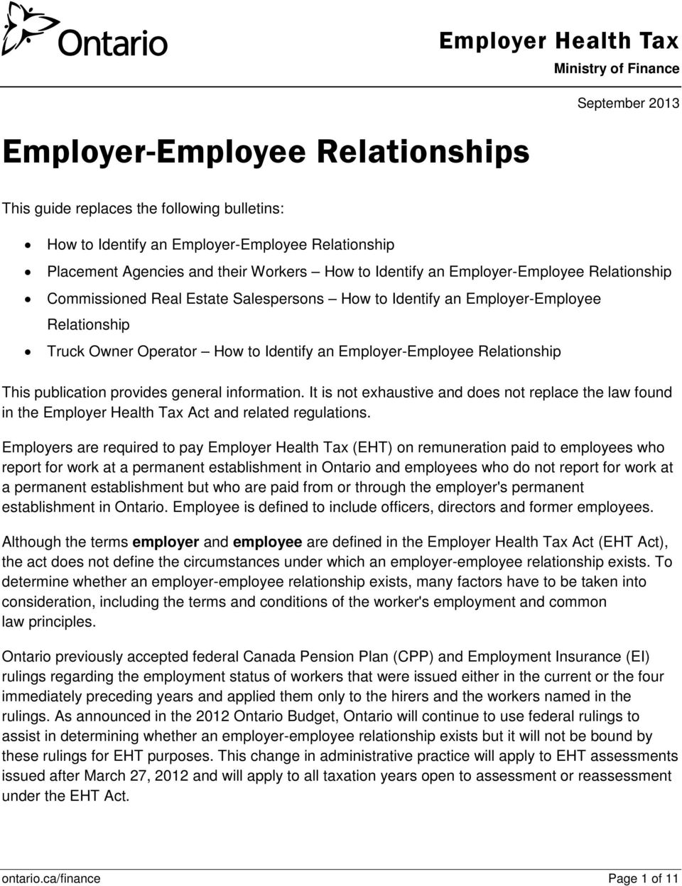 Identify an Employer-Employee Relationship This publication provides general information.