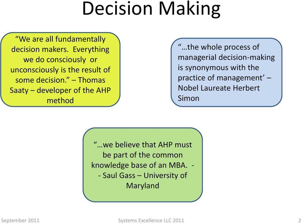 Thomas Saaty developer of the AHP method the whole process of managerial decision making is synonymous with the