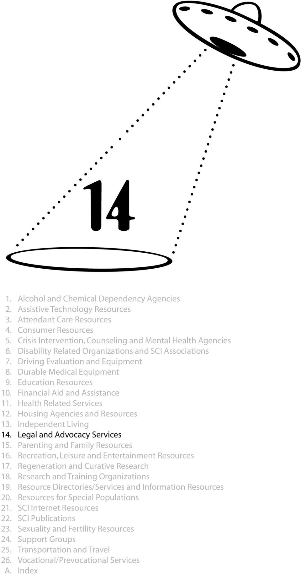 Health Related Services 12. Housing Agencies and Resources 13. Independent Living 14. Legal and Advocacy Services 15. Parenting and Family Resources 16.