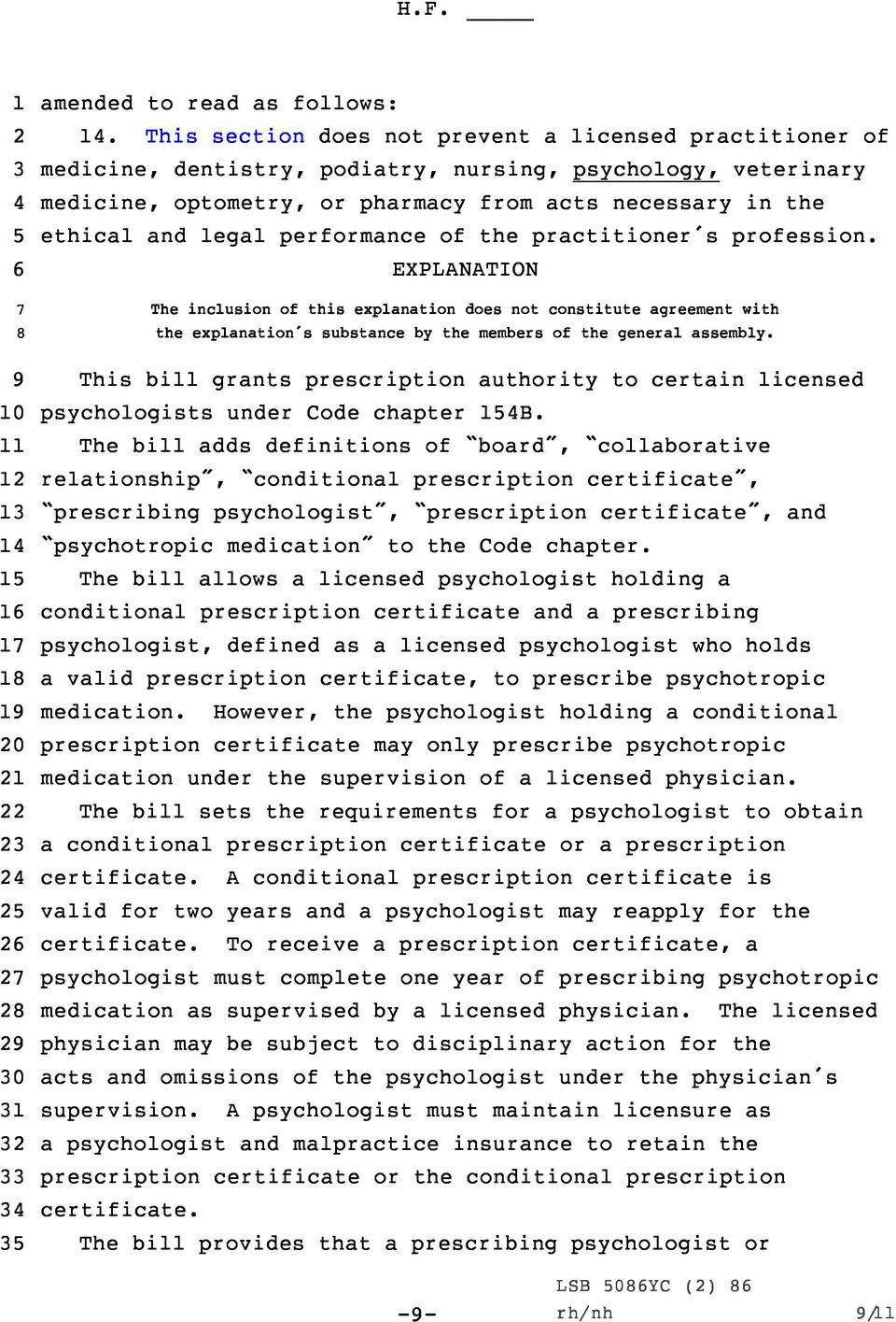 performance of the practitioner s profession. EXPLANATION The inclusion of this explanation does not constitute agreement with the explanation s substance by the members of the general assembly.