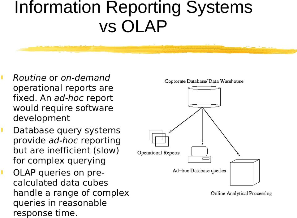 An ad-hoc report would require software development Database query systems provide