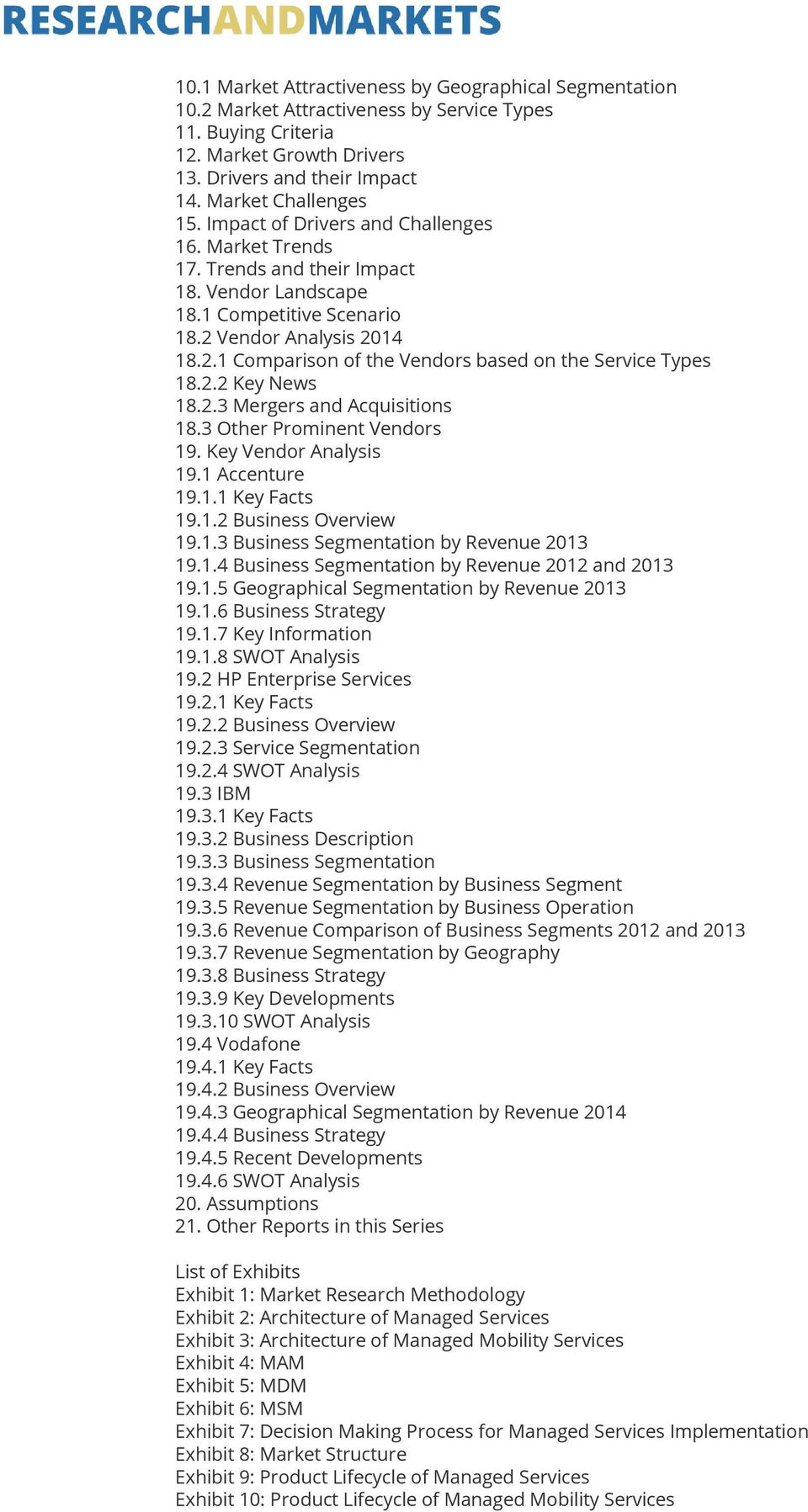 2.2 Key News 18.2.3 Mergers and Acquisitions 18.3 Other Prominent Vendors 19. Key Vendor Analysis 19.1 Accenture 19.1.1 Key Facts 19.1.2 Business Overview 19.1.3 Business Segmentation by Revenue 2013 19.