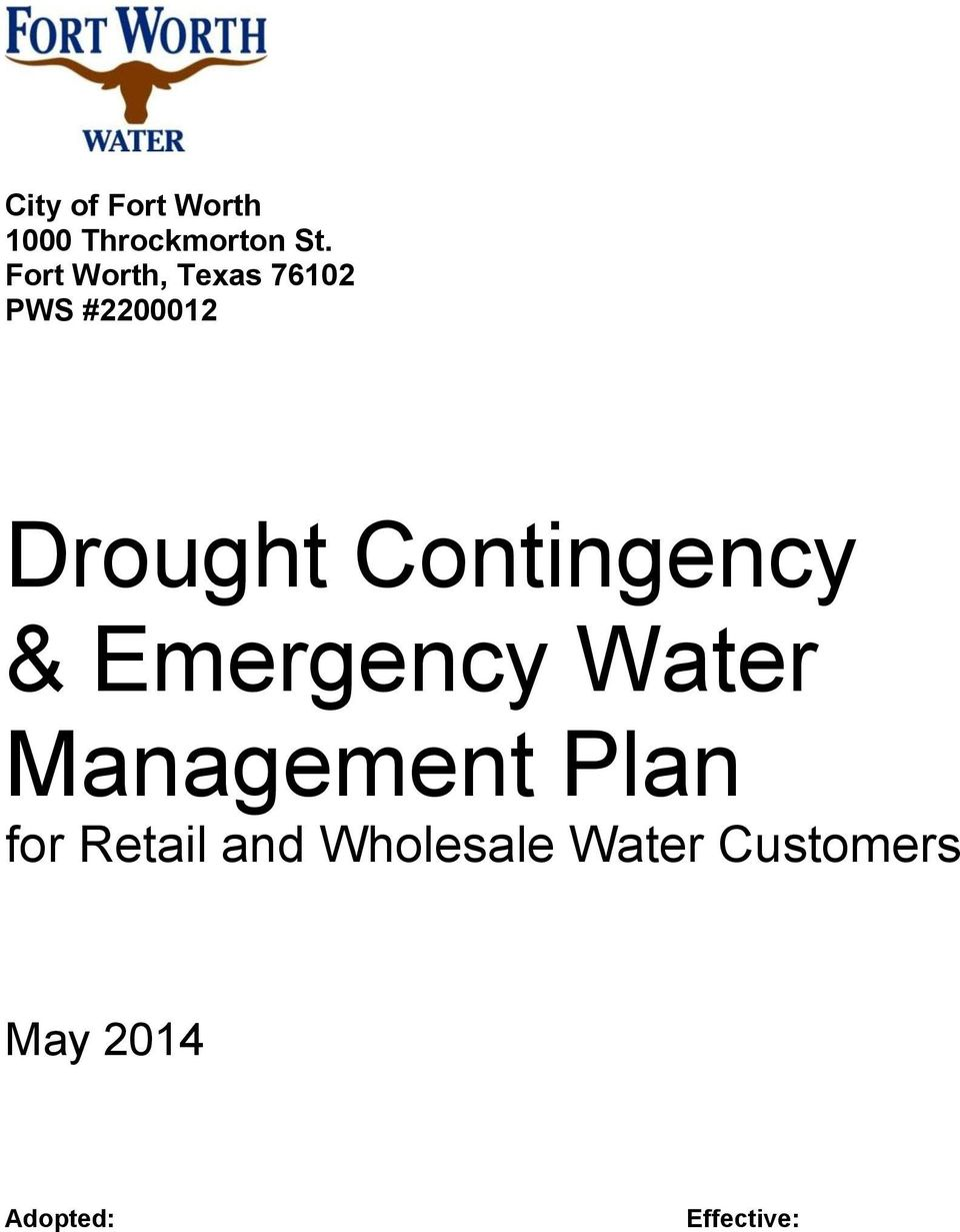 Contingency & Emergency Water Management Plan for