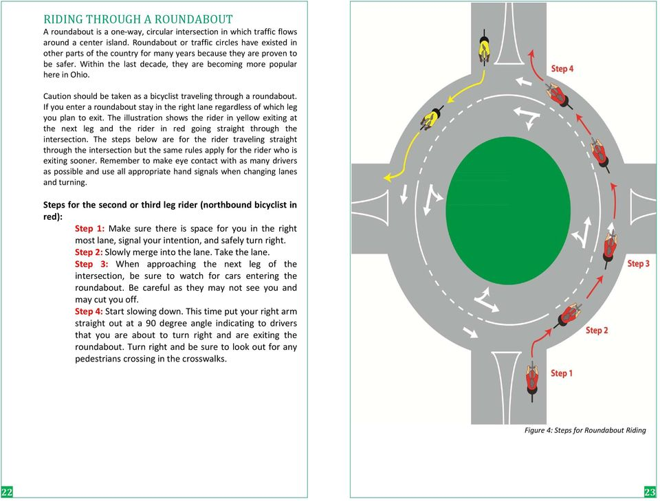 Caution should be taken as a bicyclist traveling through a roundabout. If you enter a roundabout stay in the right lane regardless of which leg you plan to exit.