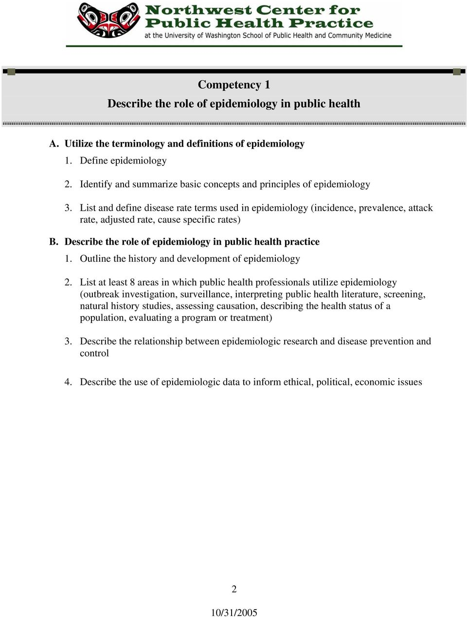 List and define disease rate terms used in epidemiology (incidence, prevalence, attack rate, adjusted rate, cause specific rates) B. Describe the role of epidemiology in public health practice 1.
