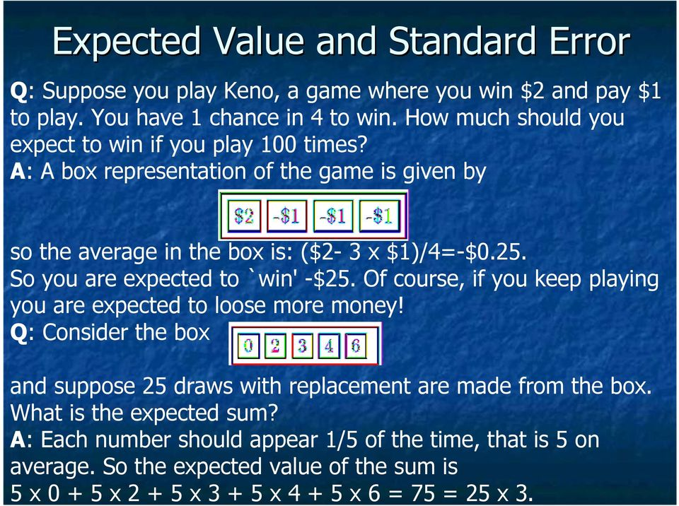 So you are expected to `win' -$25. Of course, if you keep playing you are expected to loose more money!