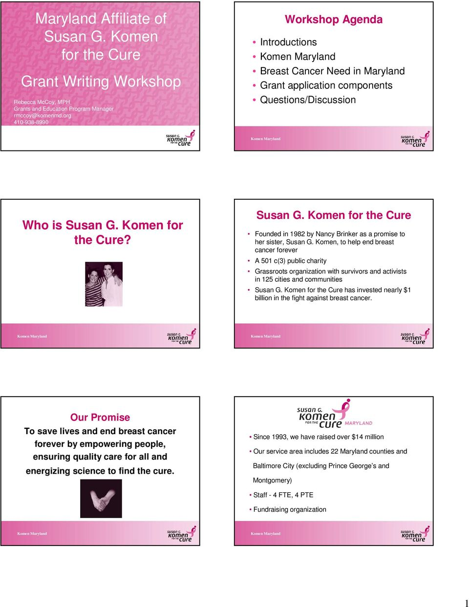 Komen for the Cure? Susan G. Komen for the Cure Founded in 1982 by Nancy Brinker as a promise to her sister, Susan G.