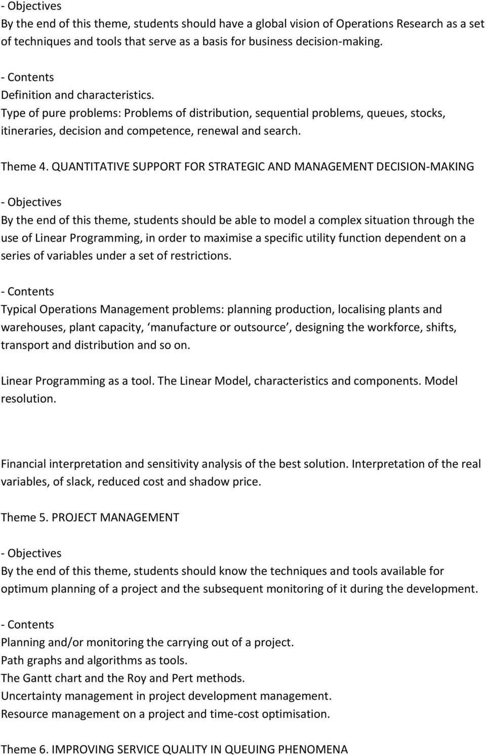 characteristics of linear programming in operations research