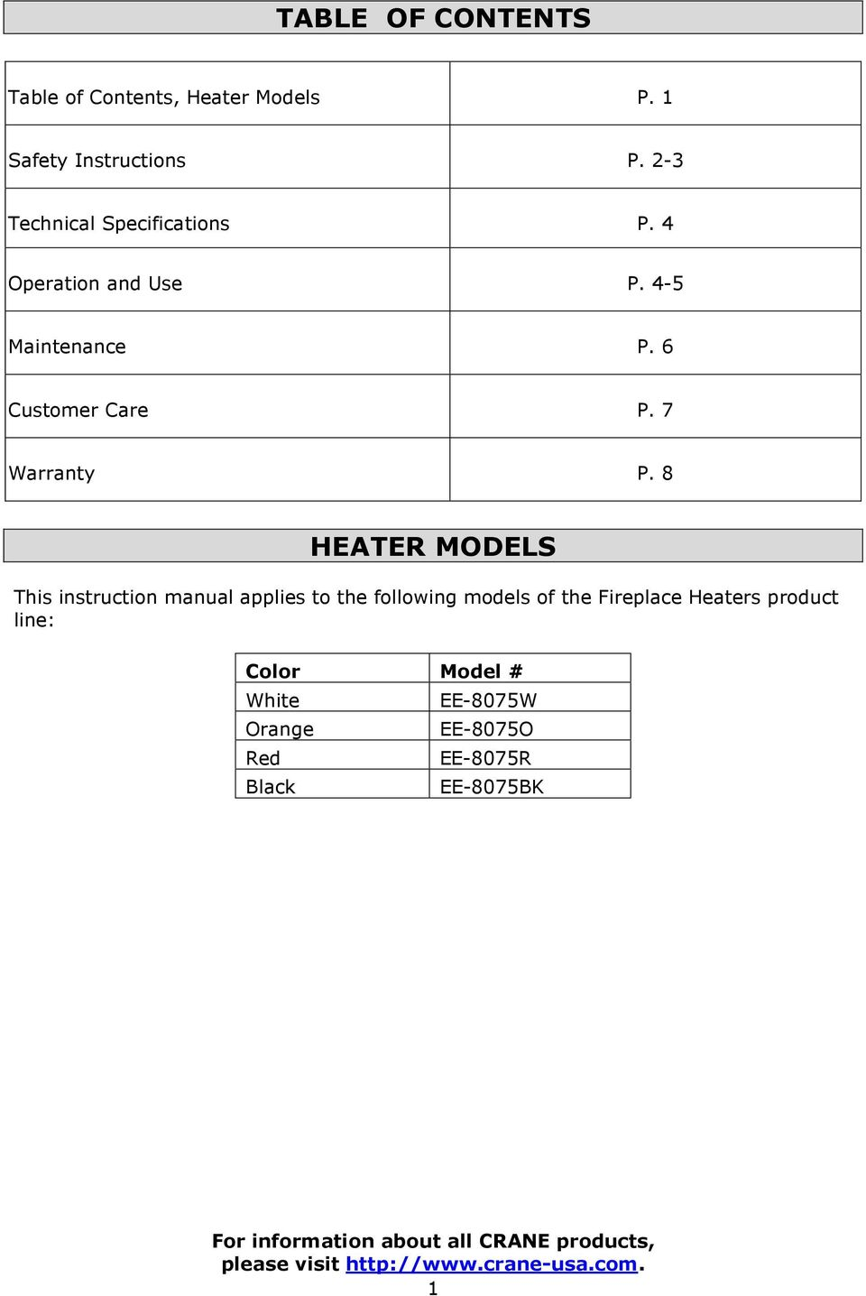 8 HEATER MODELS This instruction manual applies to the following models of the Fireplace Heaters product line: