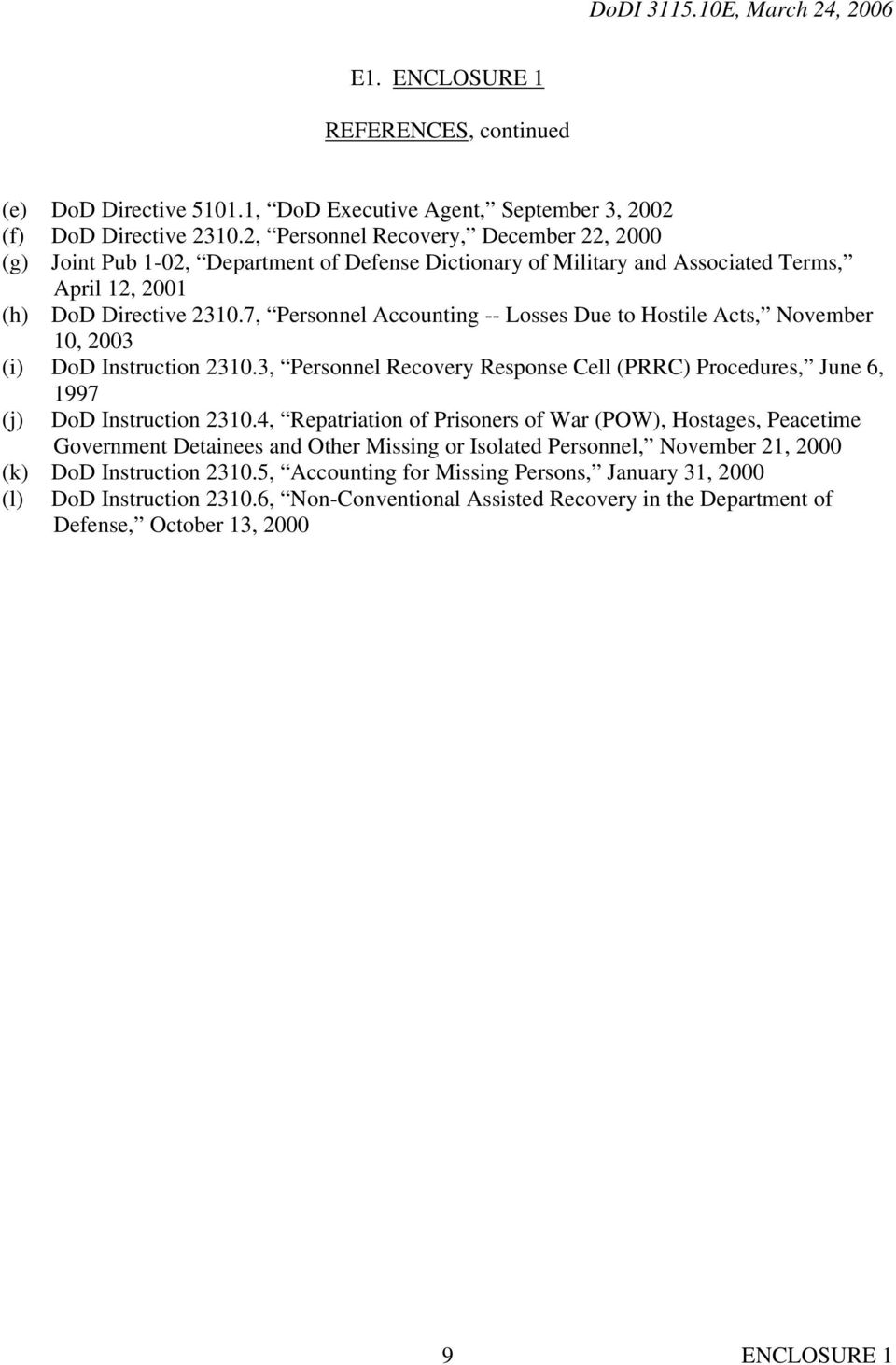 7, Personnel Accounting -- Losses Due to Hostile Acts, November 10, 2003 (i) DoD Instruction 2310.3, Personnel Recovery Response Cell (PRRC) Procedures, June 6, 1997 (j) DoD Instruction 2310.