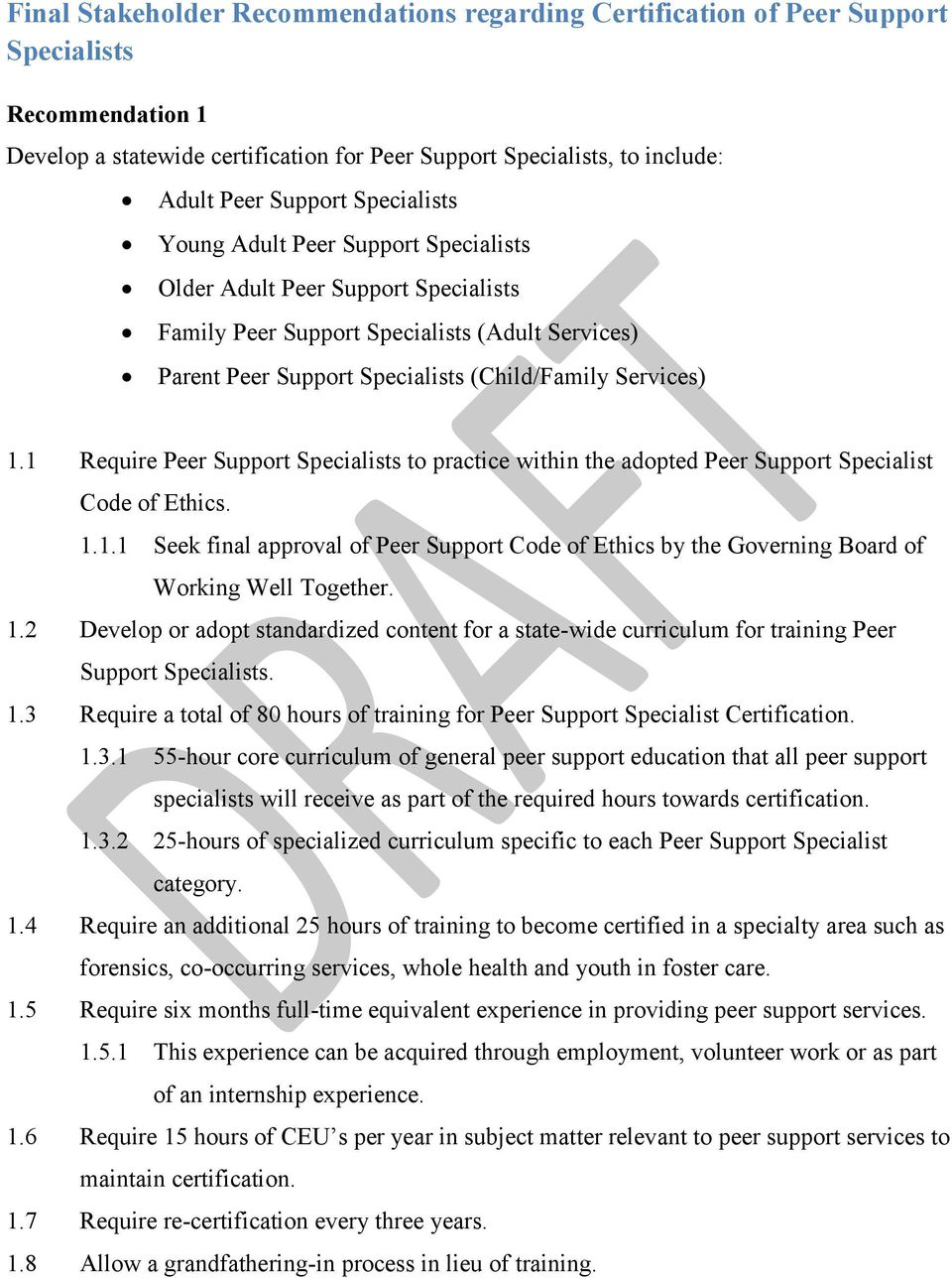 1 Require Peer Support Specialists to practice within the adopted Peer Support Specialist Code of Ethics. 1.1.1 Seek final approval of Peer Support Code of Ethics by the Governing Board of Working Well Together.