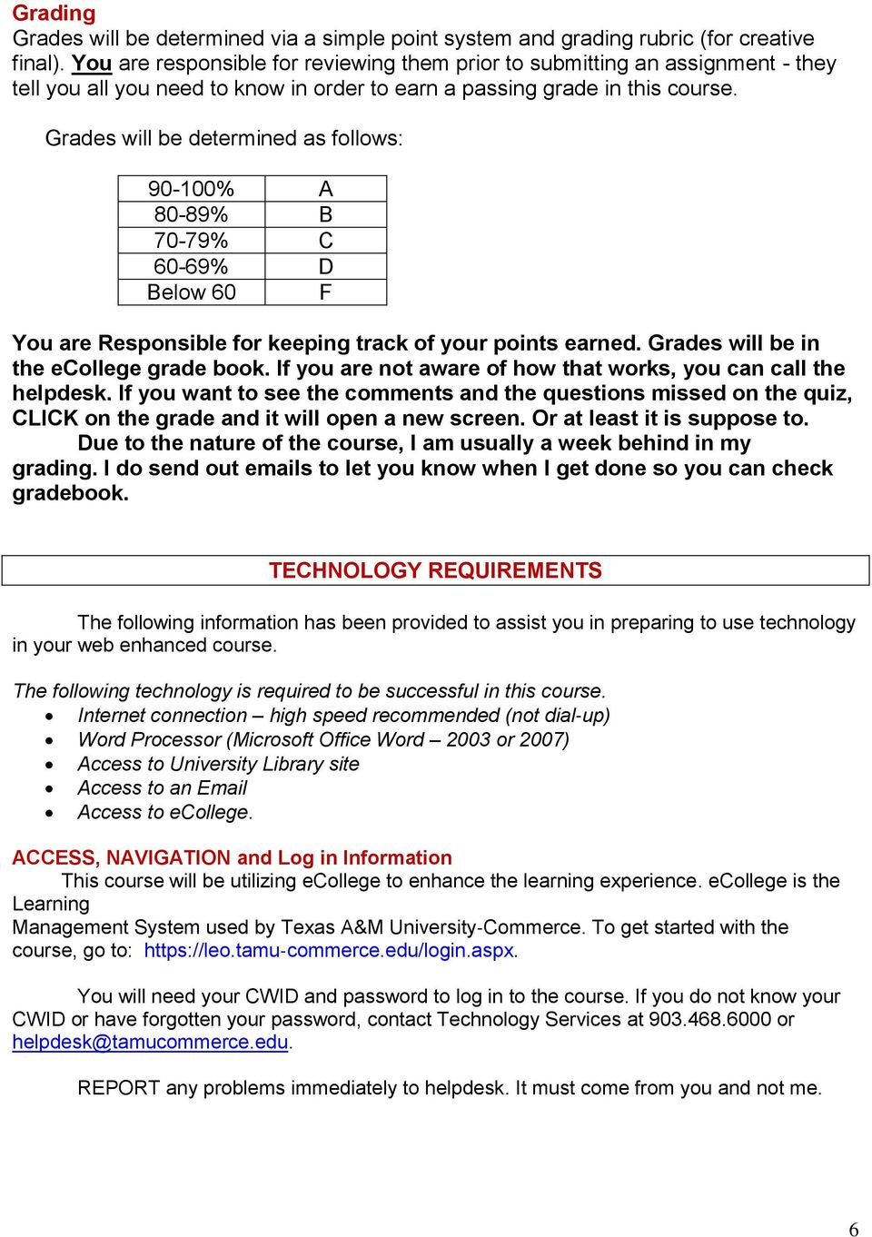 Grades will be determined as follows: 90-100% A 80-89% B 70-79% C 60-69% D Below 60 F You are Responsible for keeping track of your points earned. Grades will be in the ecollege grade book.