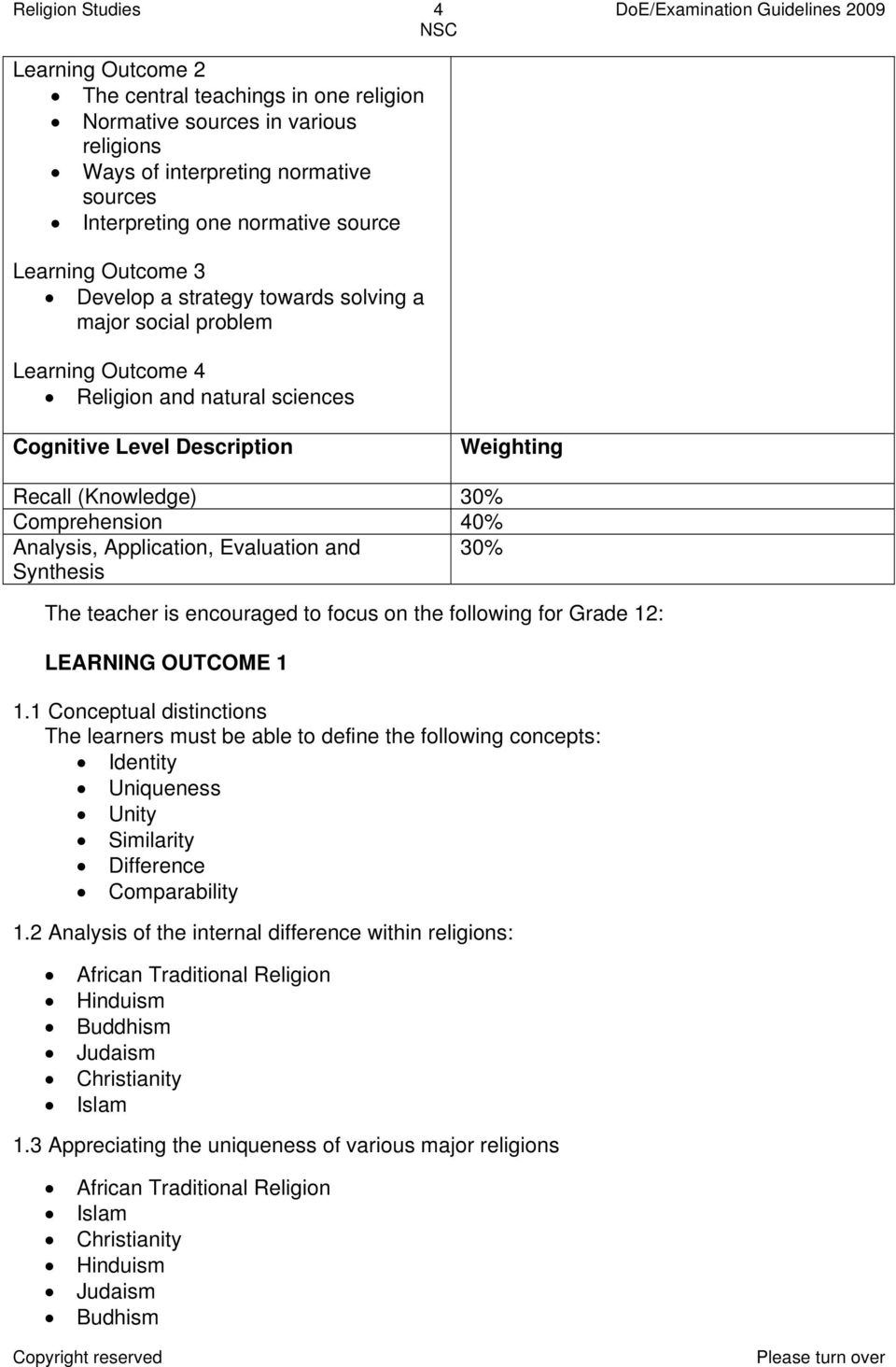 (Knowledge) 30% Comprehension 40% Analysis, Application, Evaluation and 30% Synthesis The teacher is encouraged to focus on the following for Grade 12: LEARNING OUTCOME 1 1.
